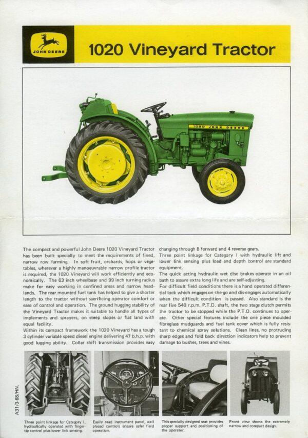 john deere 1020 tractor brochure